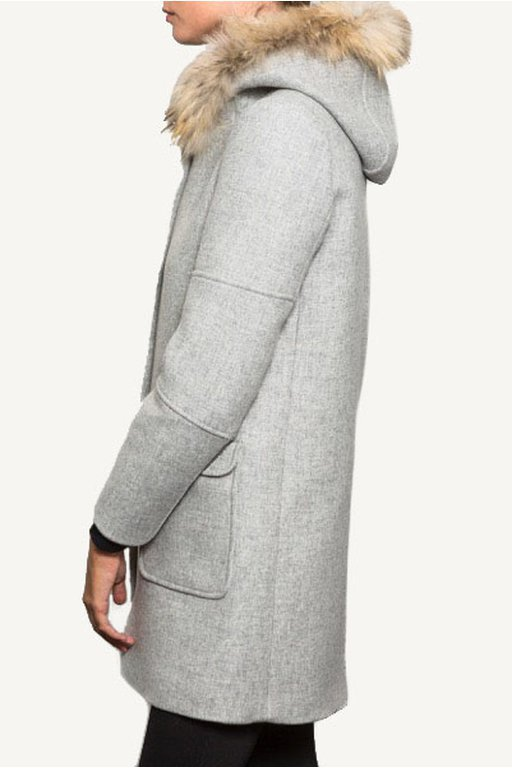 Grey coat with fur hood